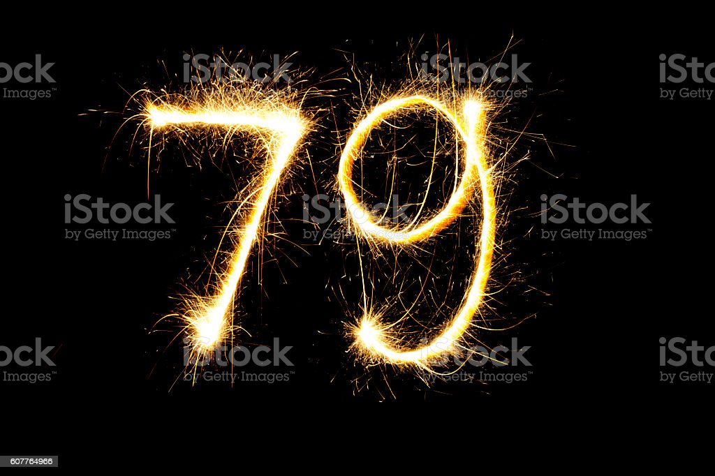 Number 79 made with sparklers stock photo