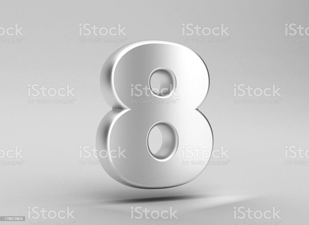 number 8 aluminum iron on grey background stock photo