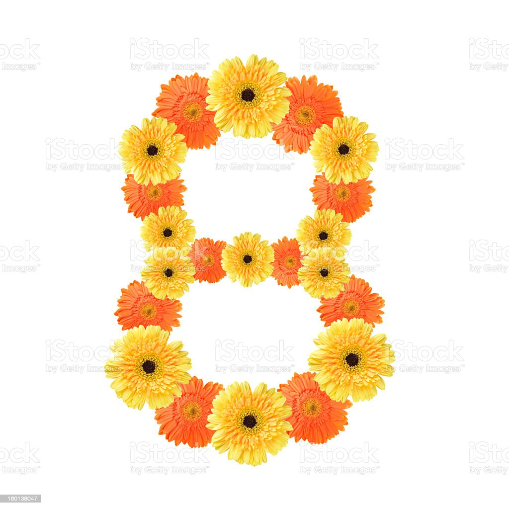 Number 8 created by flowers royalty-free stock photo