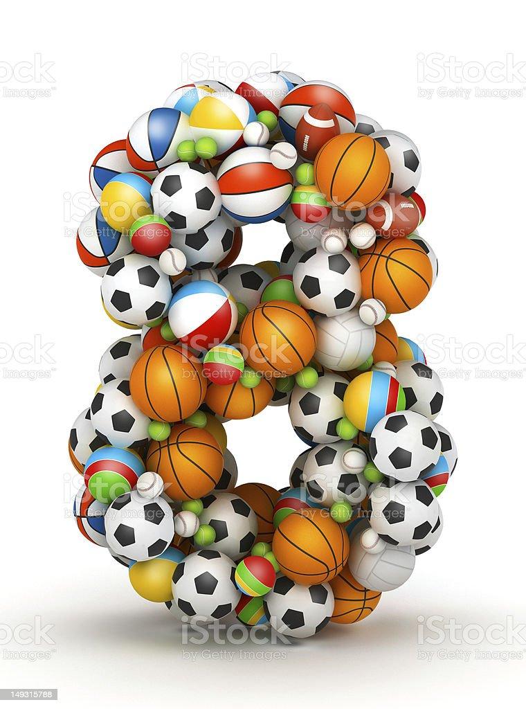 Number 8, gaming balls alphabet royalty-free stock photo