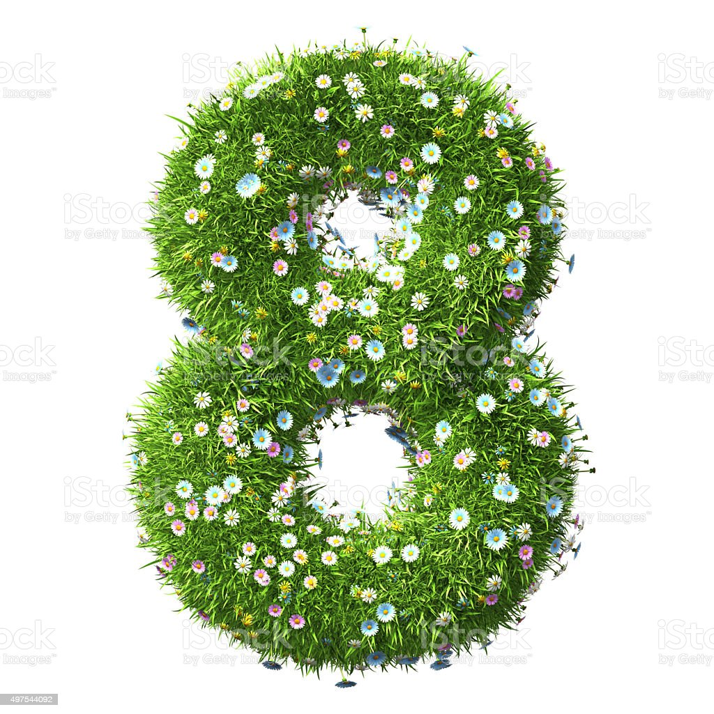 Number 8 Of Grass And Flower stock photo