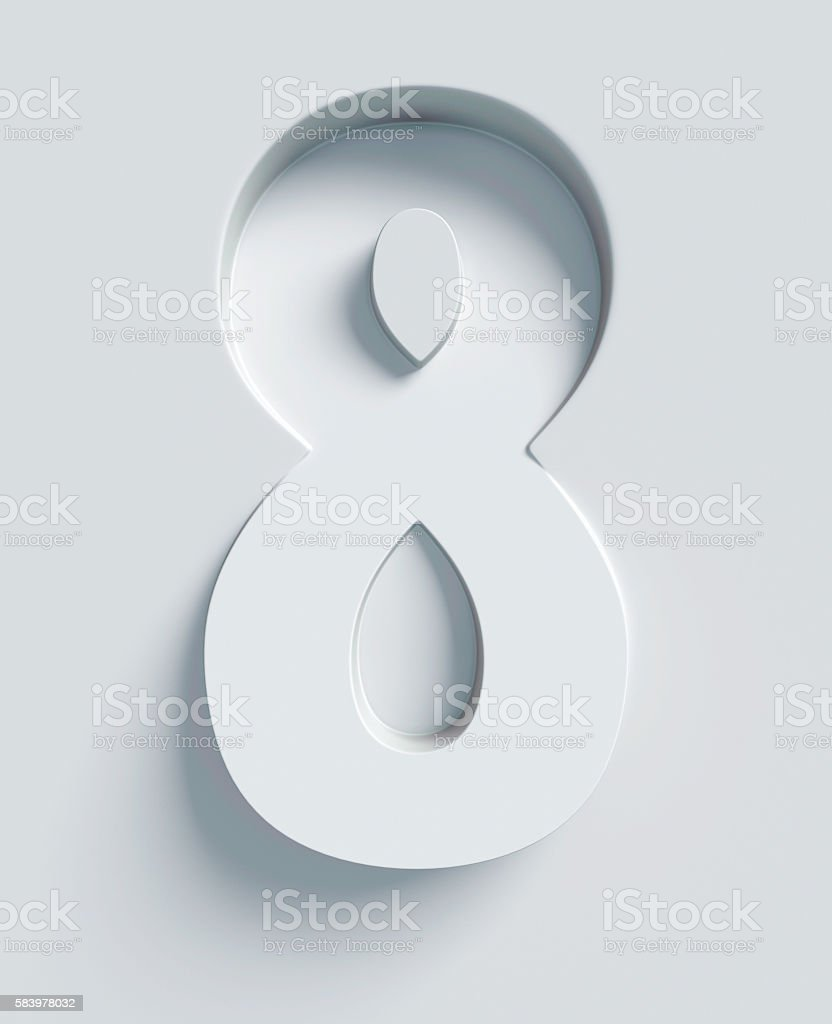 Number 8 slanted 3d font engraved and extruded from surface stock photo