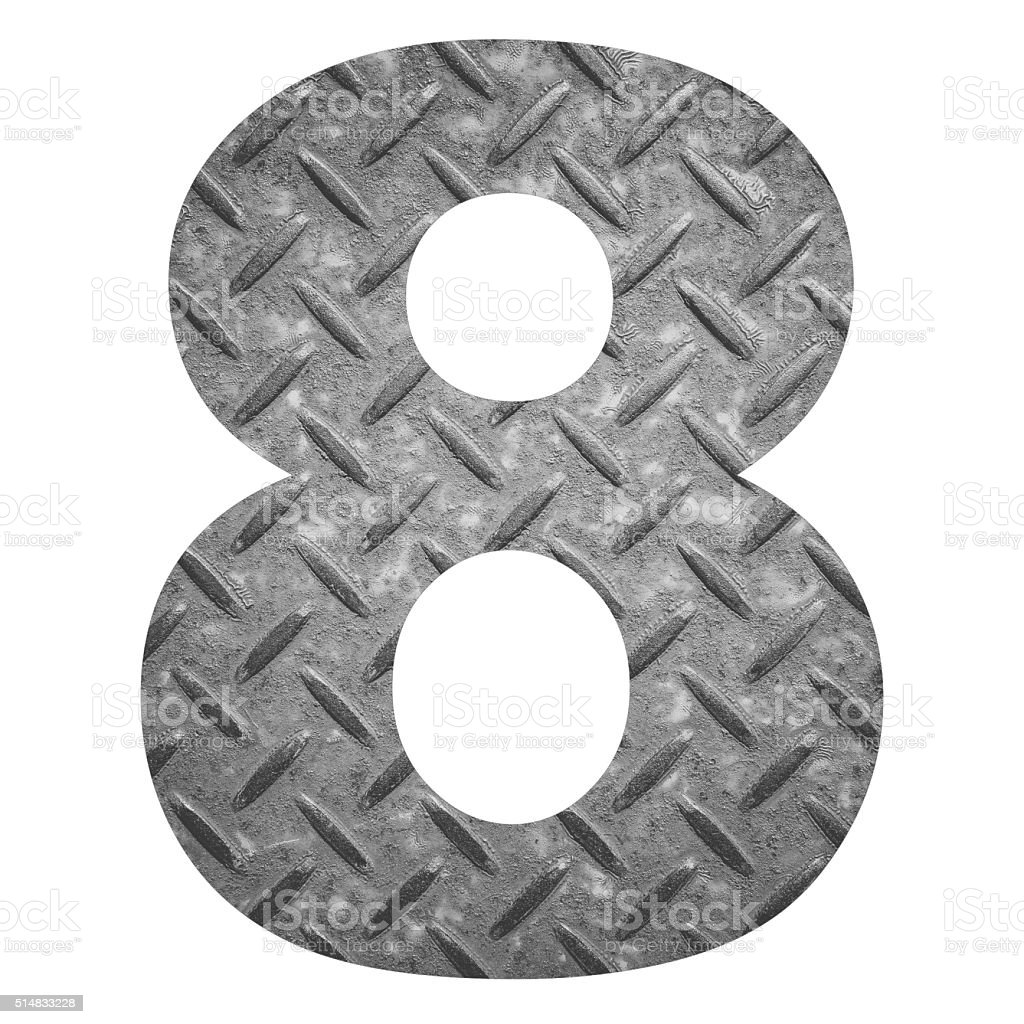 Number 8 with metal photo background isolated on white background stock photo
