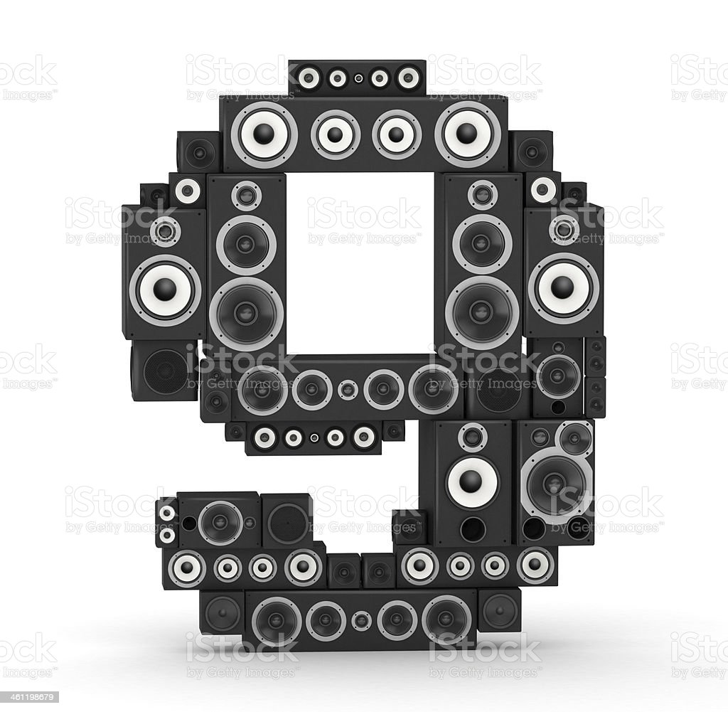 Number 9 from speaker royalty-free stock photo