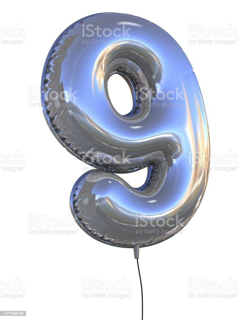 number 9 nine balloon font stock photo