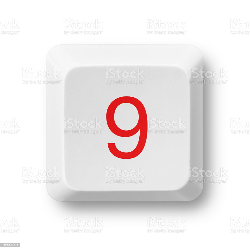 Number 9 on a computer key isolated on white stock photo