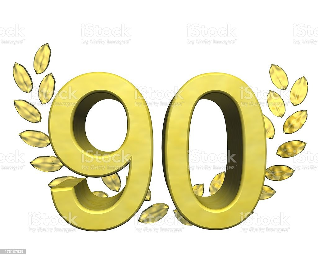number 90 with laurel wreath royalty-free stock photo