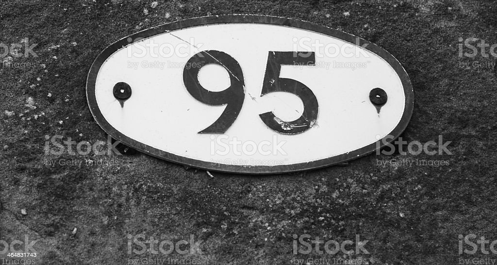 Number 95 sign black and white stock photo