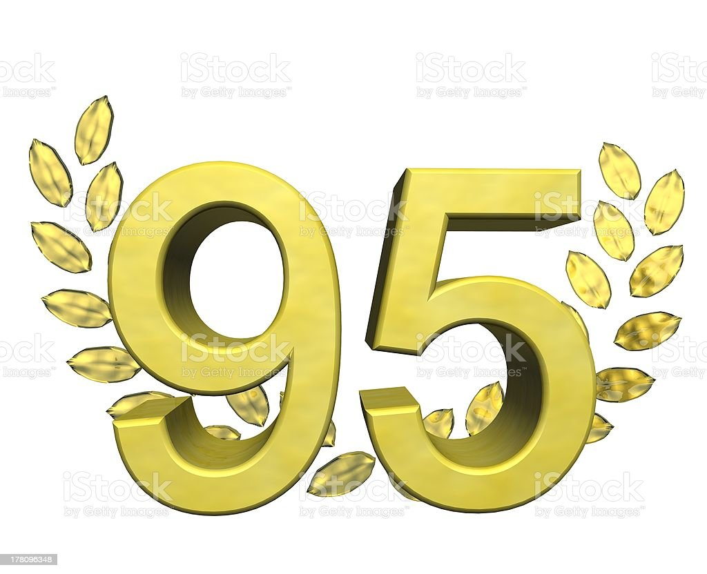 number 95 with laurel wreath royalty-free stock photo