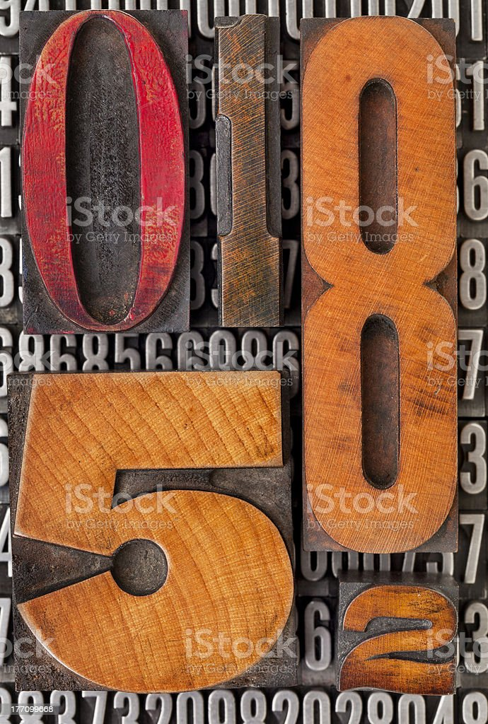 number abstract in letterpress type royalty-free stock photo
