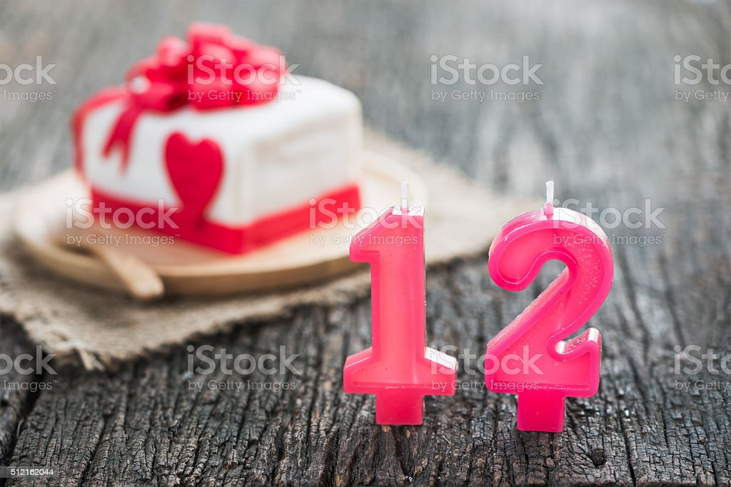 number candle twelve stock photo