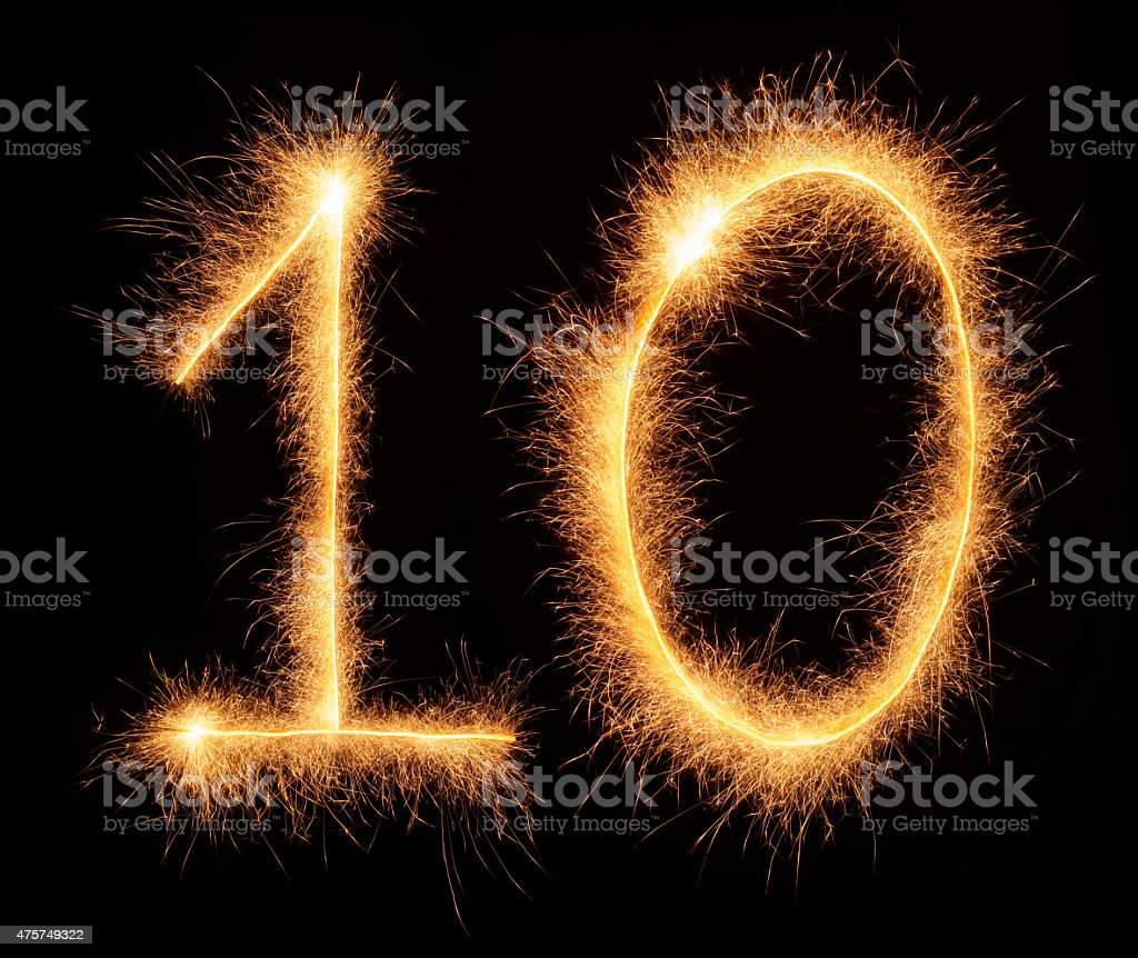 '10' number drawn with bengali sparkles stock photo