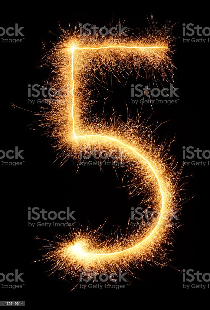 '5' number drawn with bengali sparkles stock photo