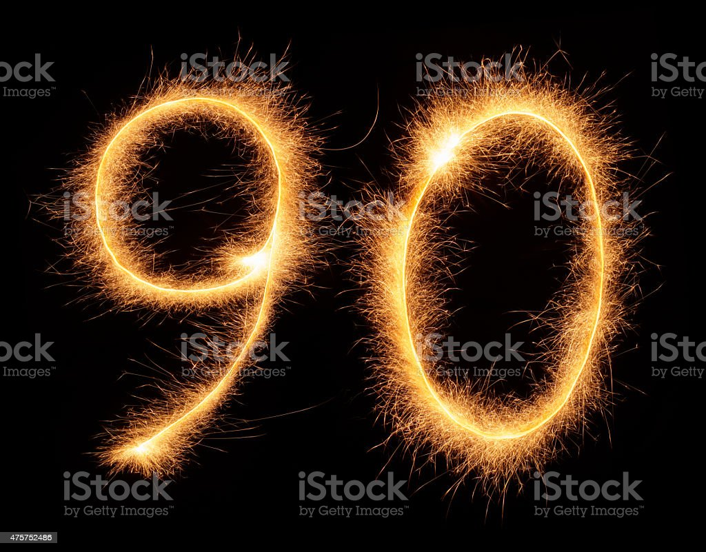 '90' number drawn with bengali sparkles stock photo