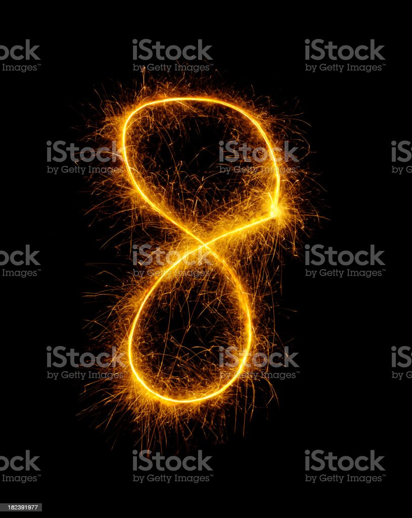 Number eight Drawn in Fireworks royalty-free stock photo
