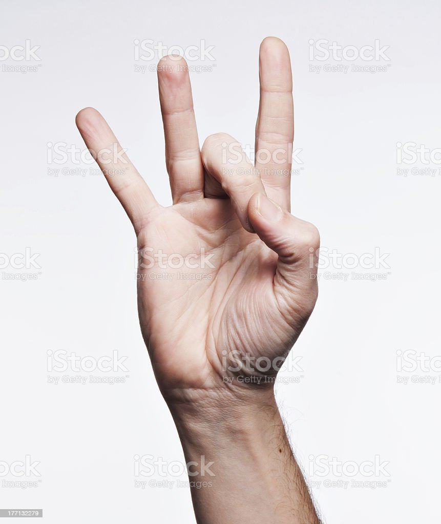 Number eight on American sign Language Alphabet