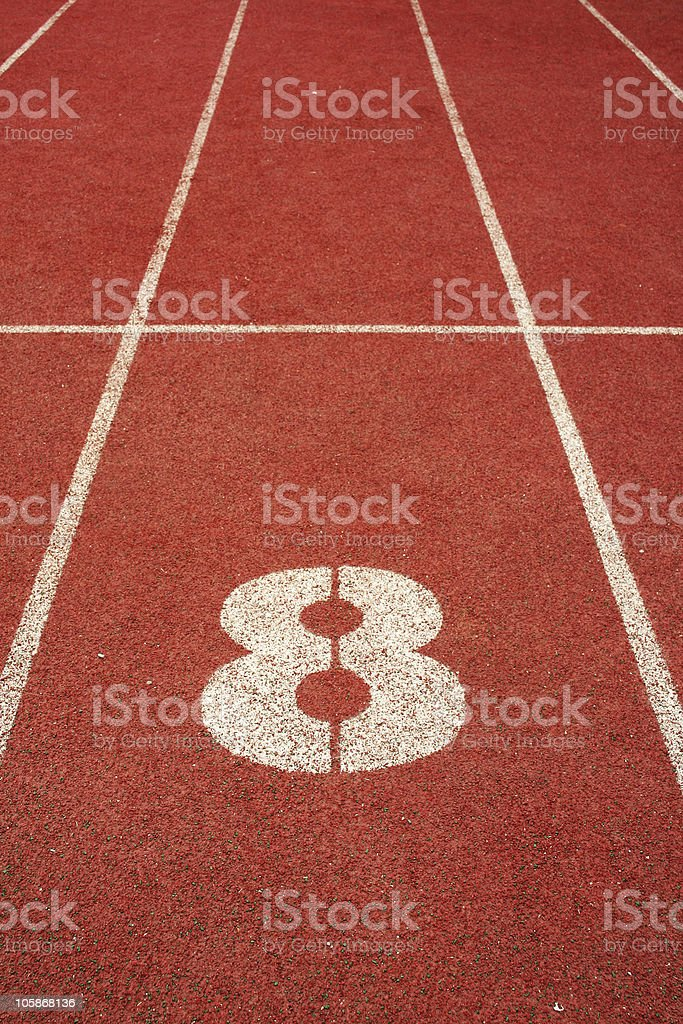 number eight on red run track royalty-free stock photo