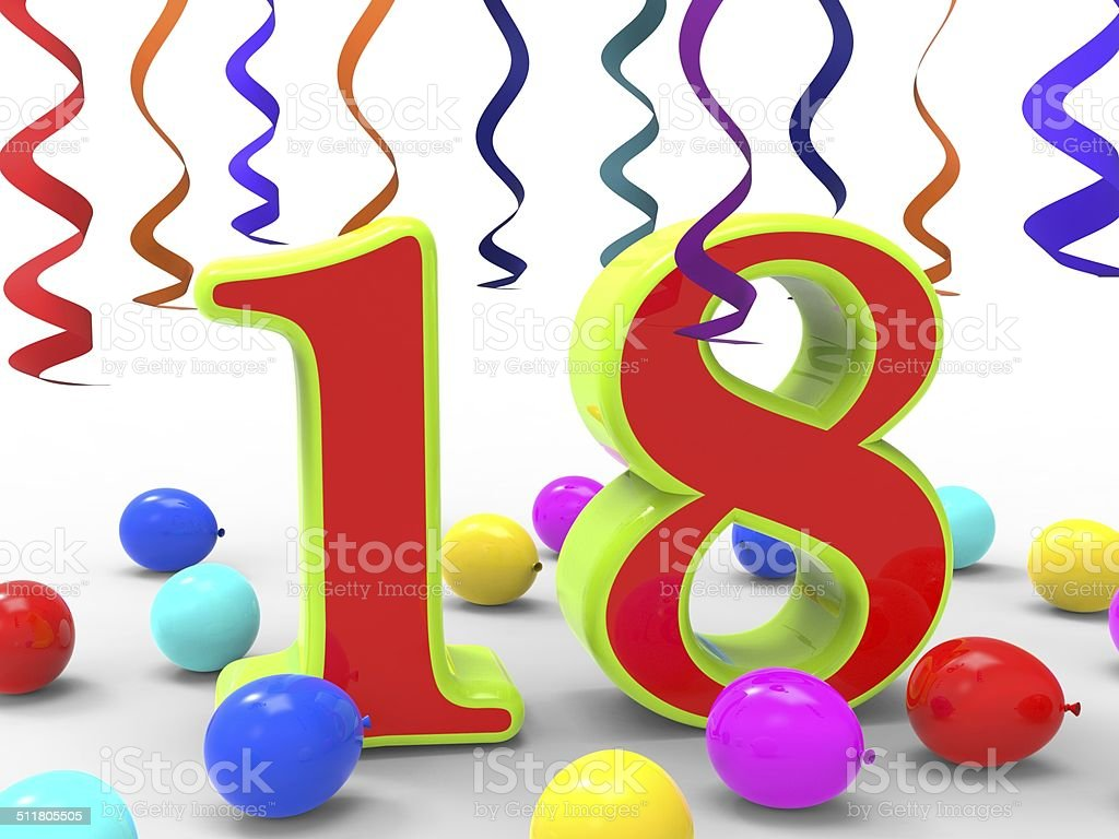 Number Eighteen Party Shows Teenager Birthday Party Or Celebrati stock photo