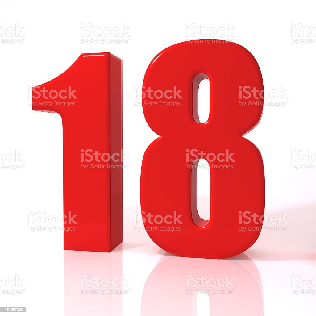 Number eighteen stock photo