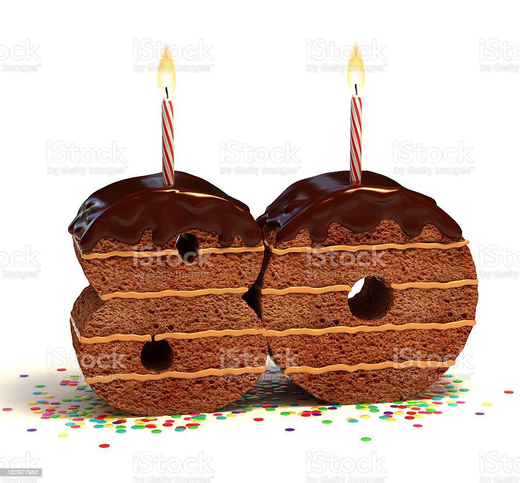 number eighty shaped chocolate cake stock photo
