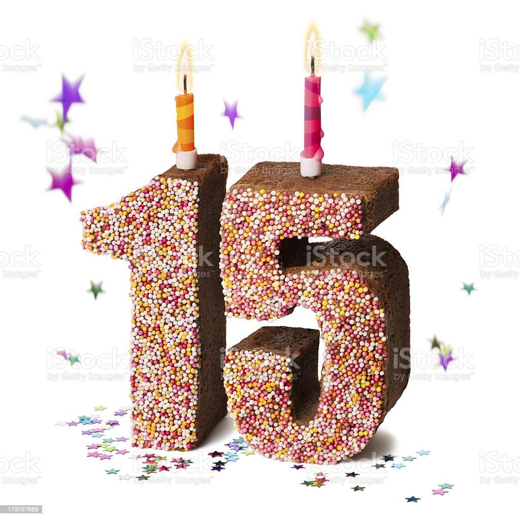 Number fifteen 15 chocolate birthday cake stock photo