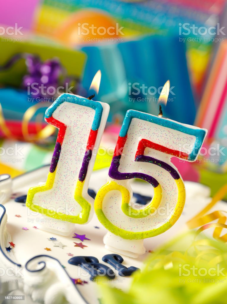 Number Fifteen Birthday Candle royalty-free stock photo