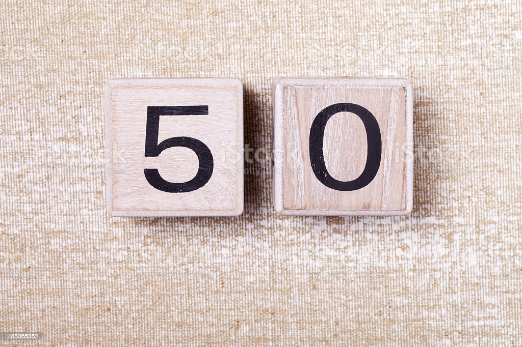 number  fifty  50 wooden cubes stock photo