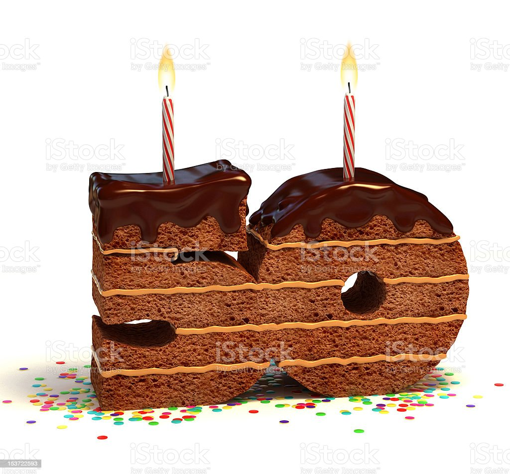 number fifty shaped chocolate cake stock photo