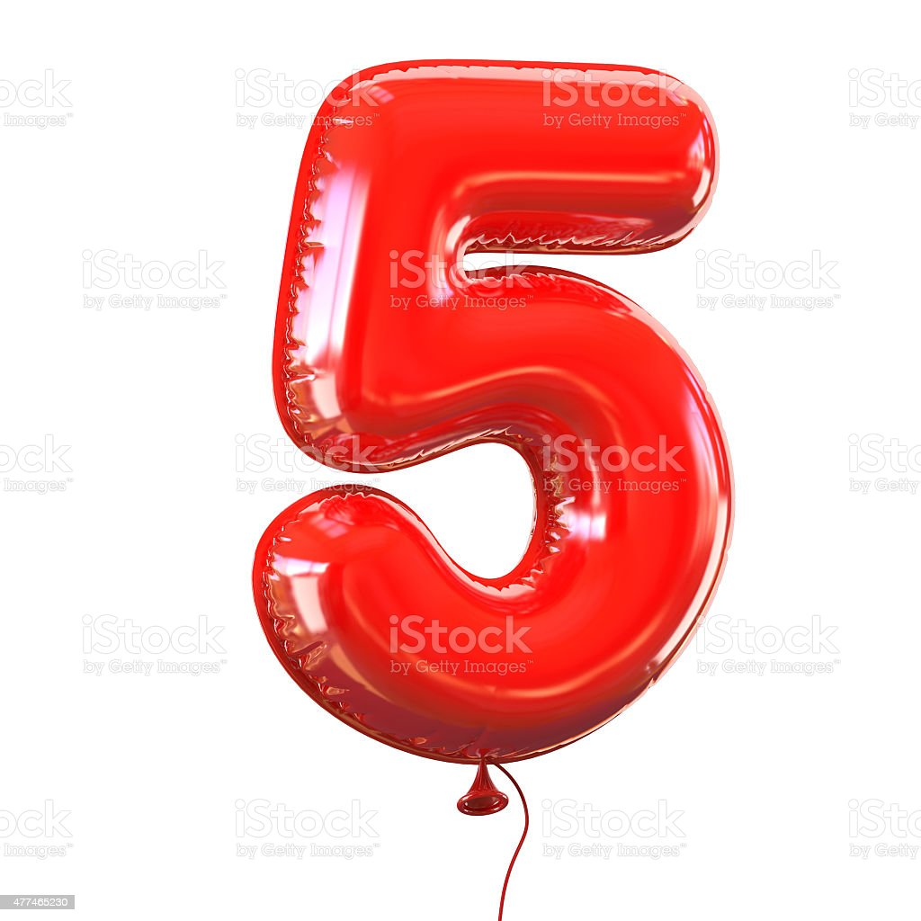 Number five - 5 balloon font stock photo