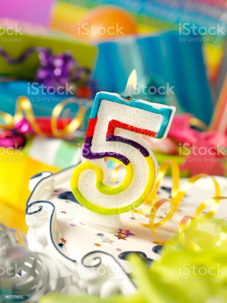 Number Five Birthday Candle royalty-free stock photo