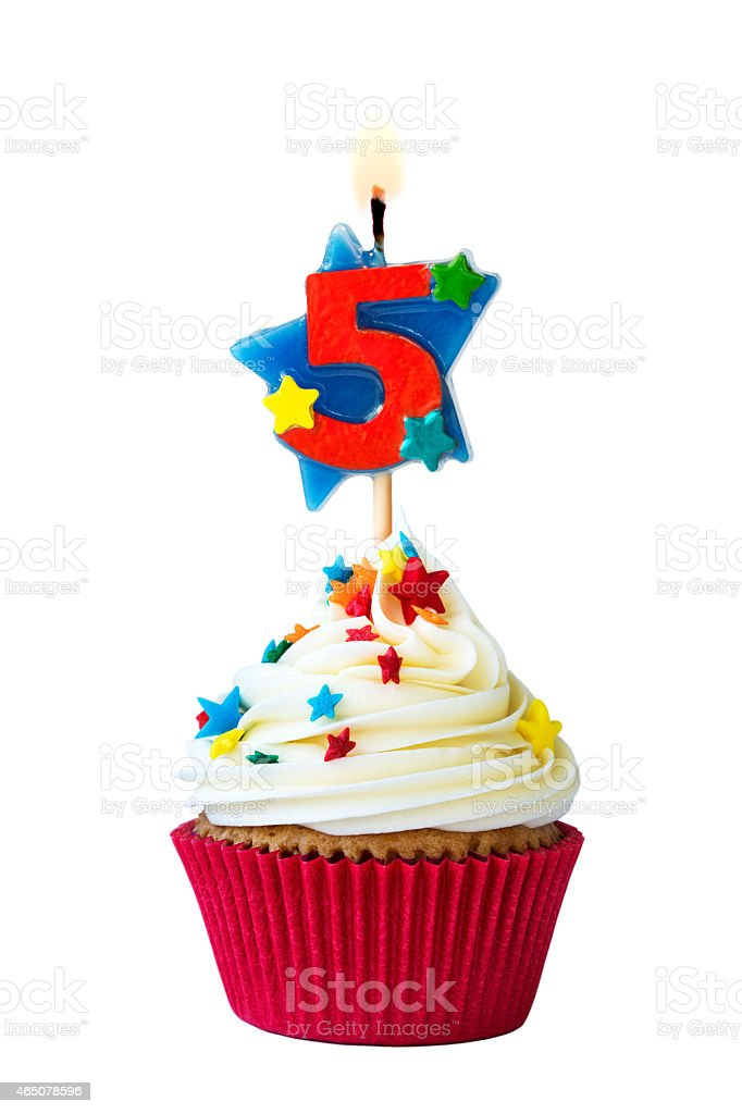 Number five cupcake stock photo