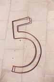 Number five metal figure
