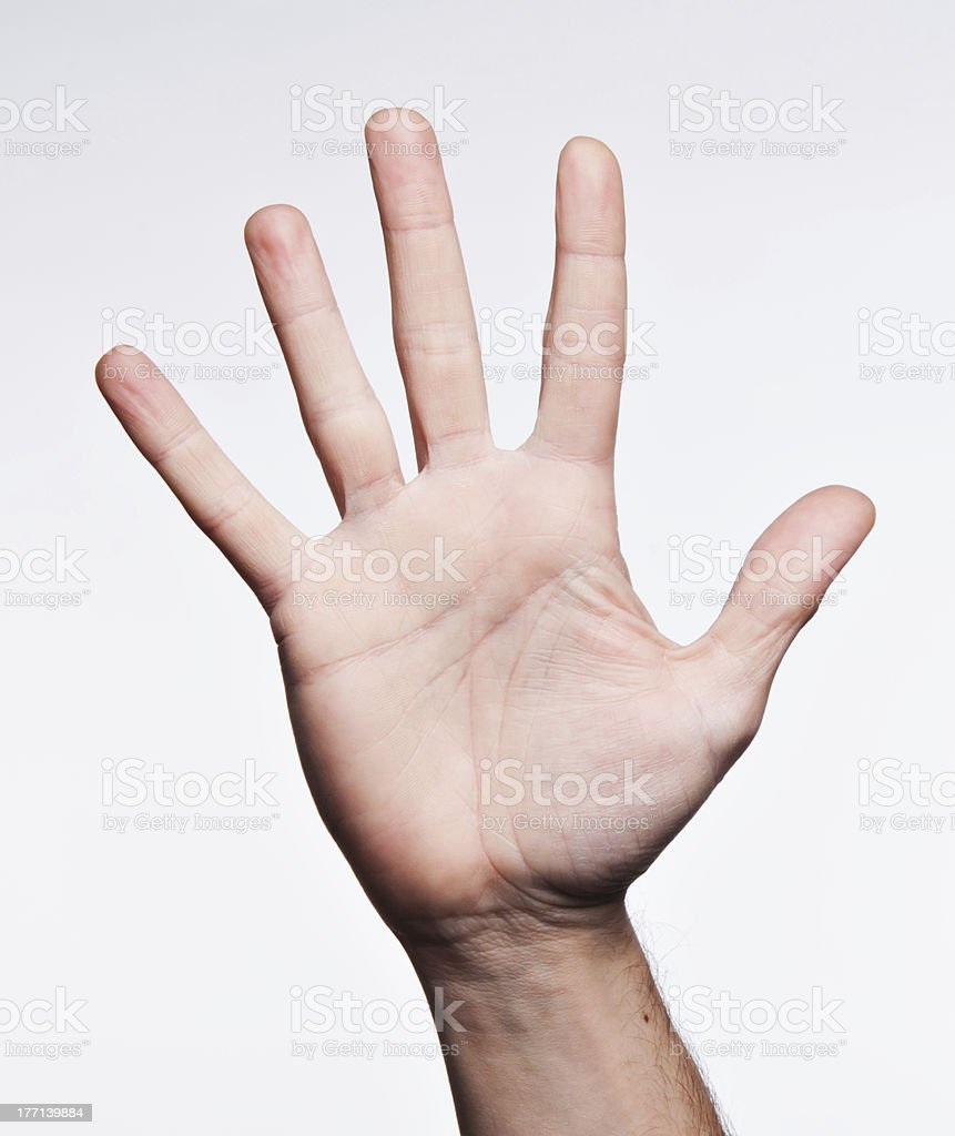 Number five on American sign Language Alphabet stock photo
