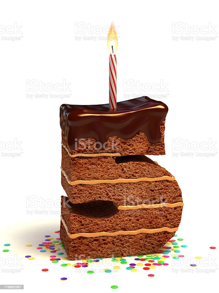 number five shaped chocolate cake stock photo