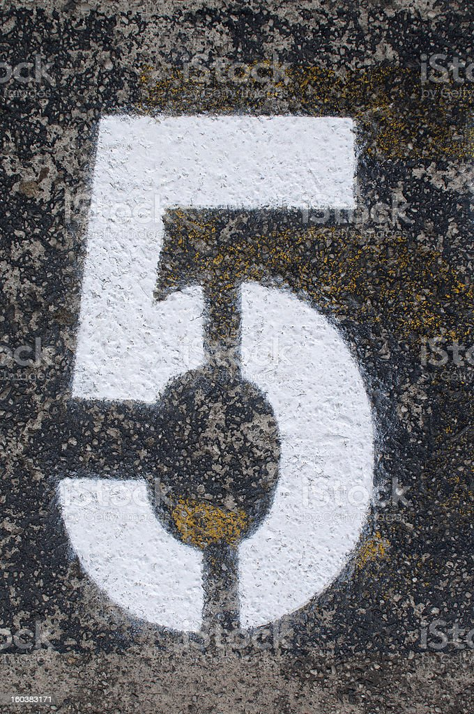 Number five sign in grunge style royalty-free stock photo