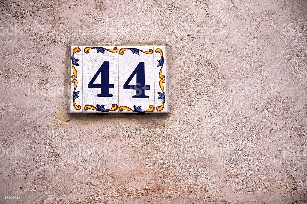 Number Forty-Four royalty-free stock photo