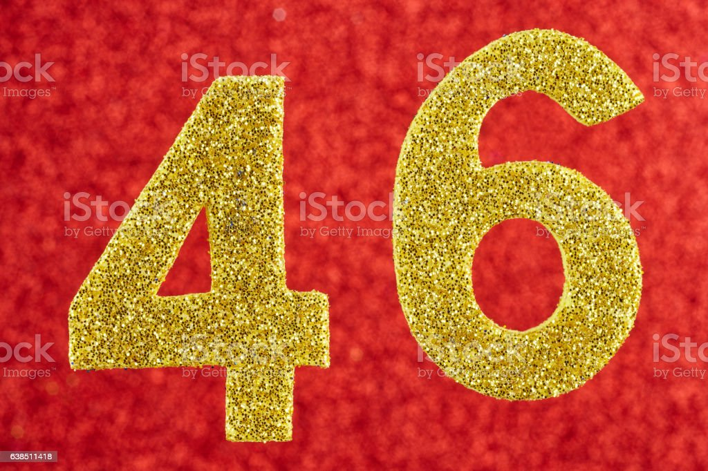 Number forty-six yellow color over a red background. Anniversary vector art illustration