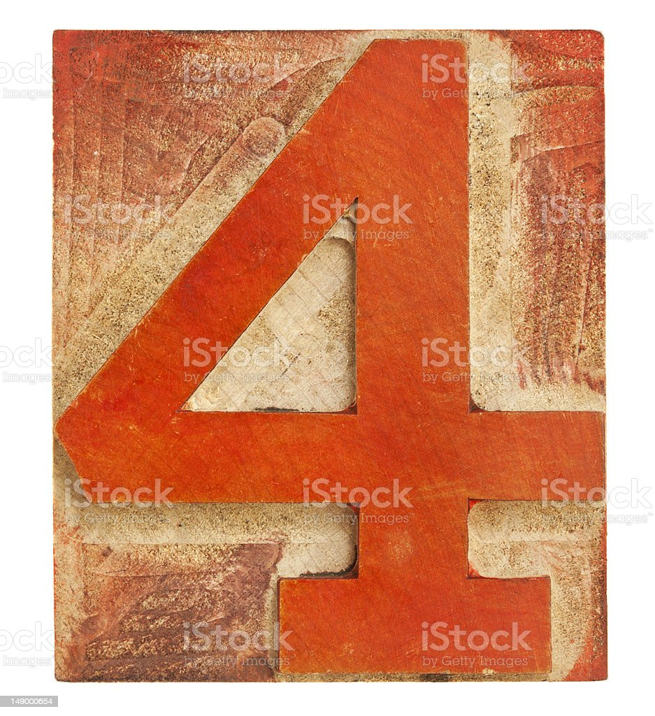 number four - letterpress wood type stock photo