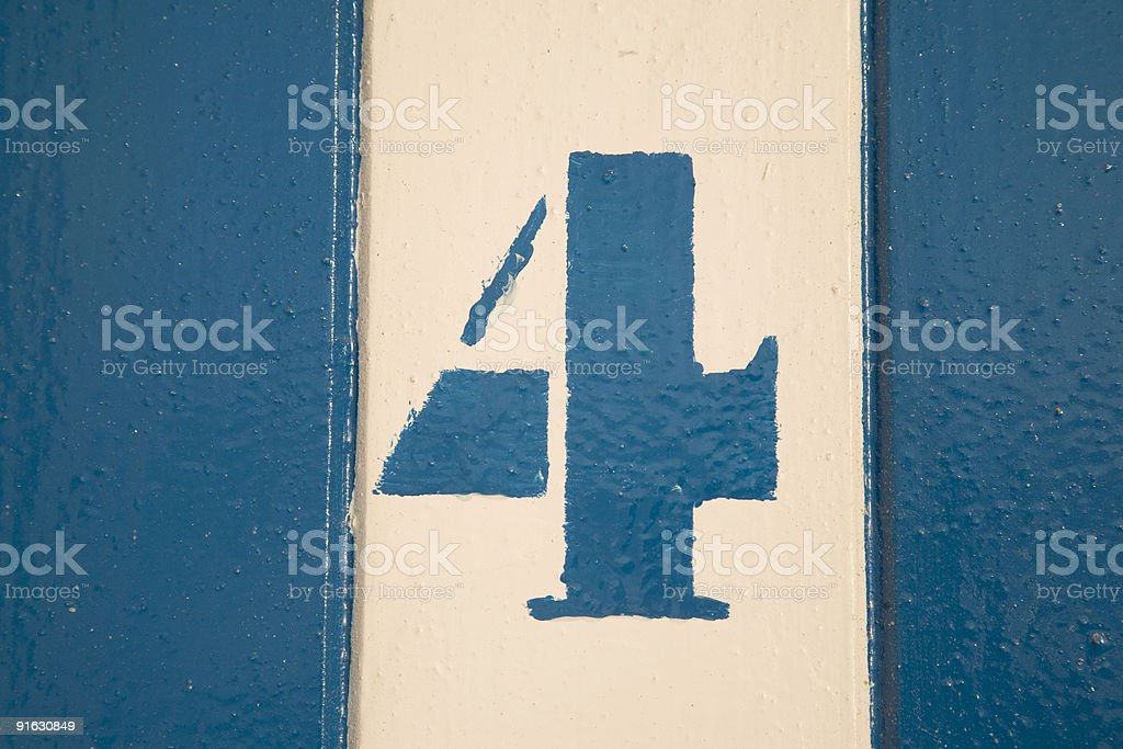 Number Four on Beach Hut stock photo