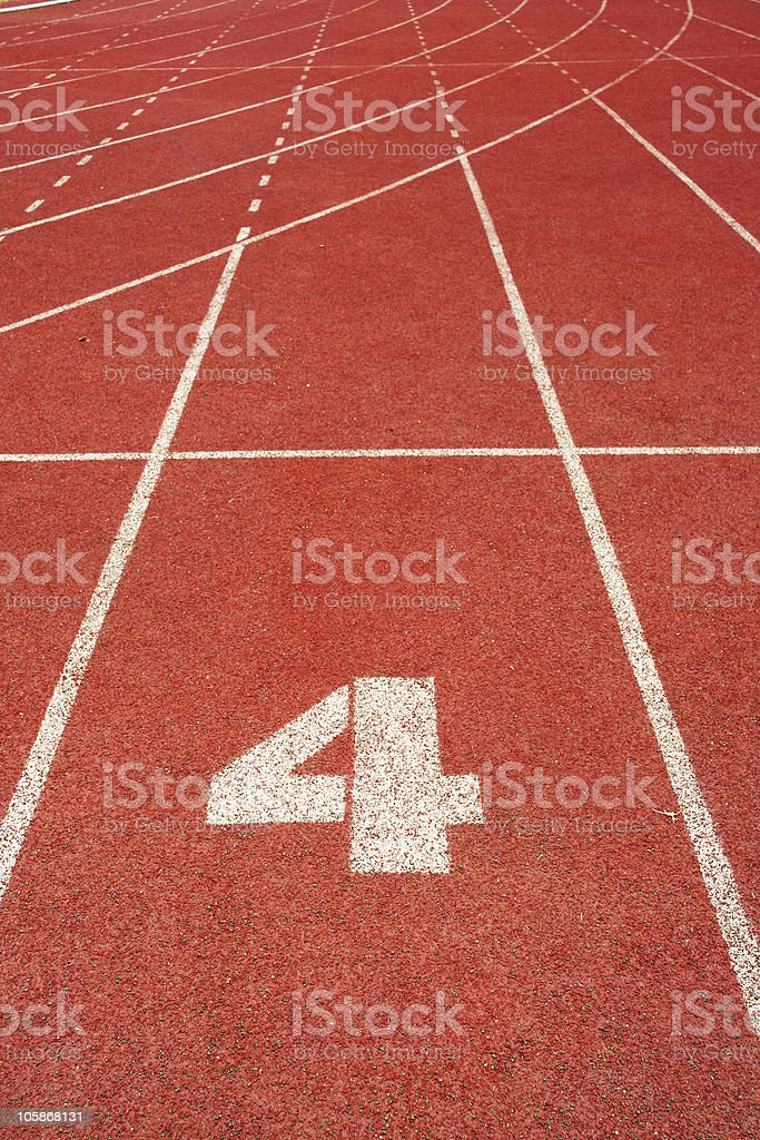 number four on red run track royalty-free stock photo