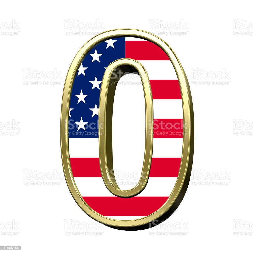 Number from american flag alphabet set isolated over white. stock photo