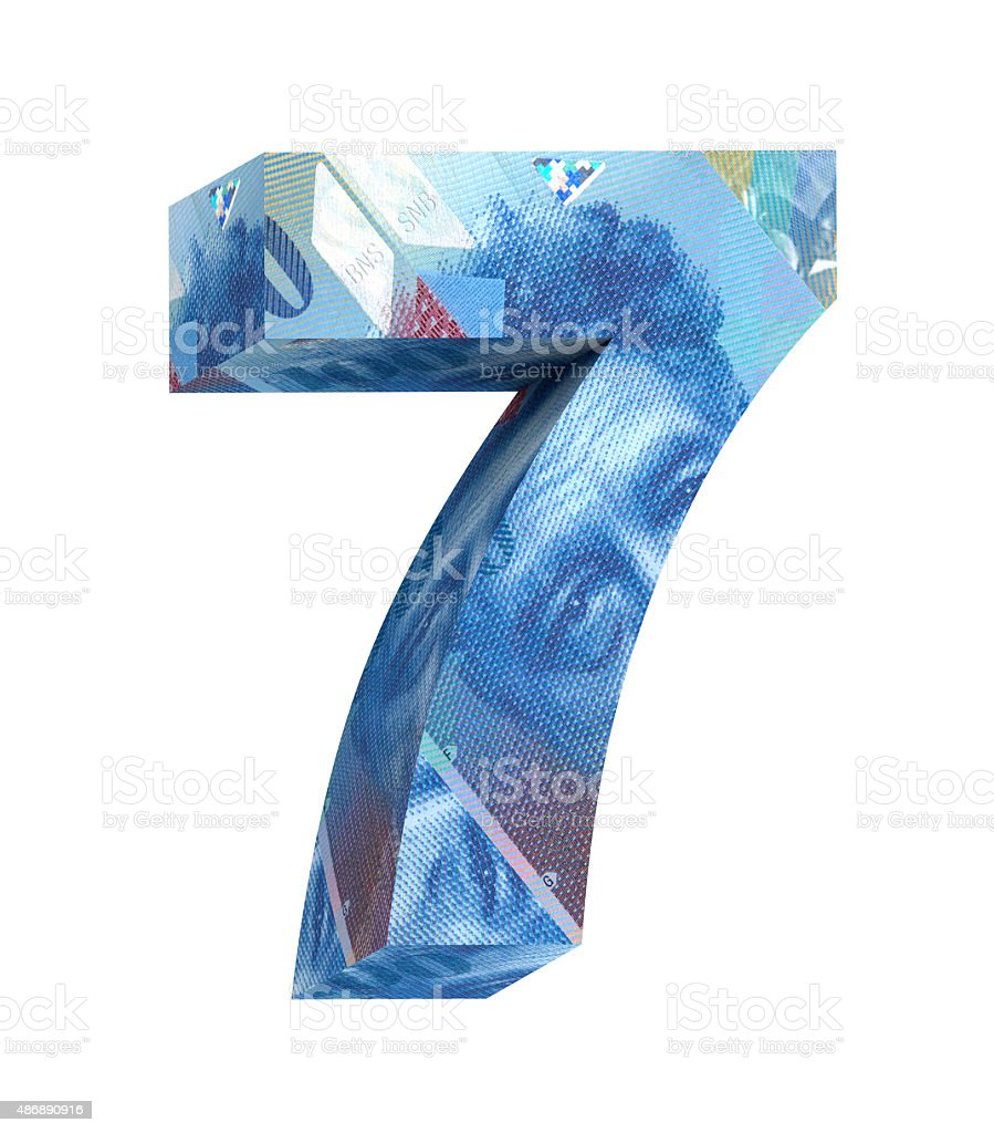 Number from swiss franc alphabet set isolated over white. stock photo