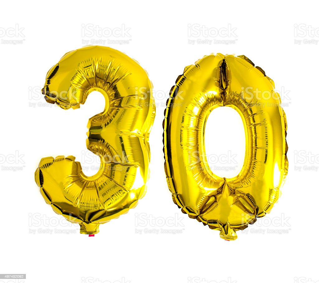 Number helium foil balloons isolated on white stock photo