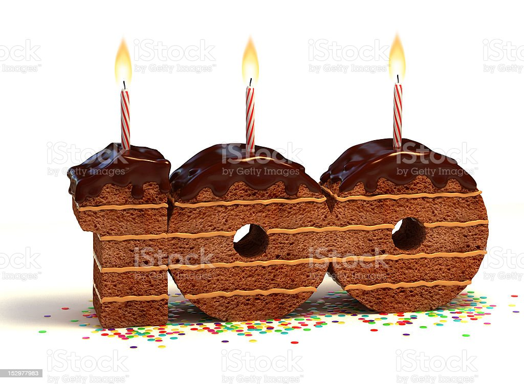 number hundred shaped chocolate cake stock photo