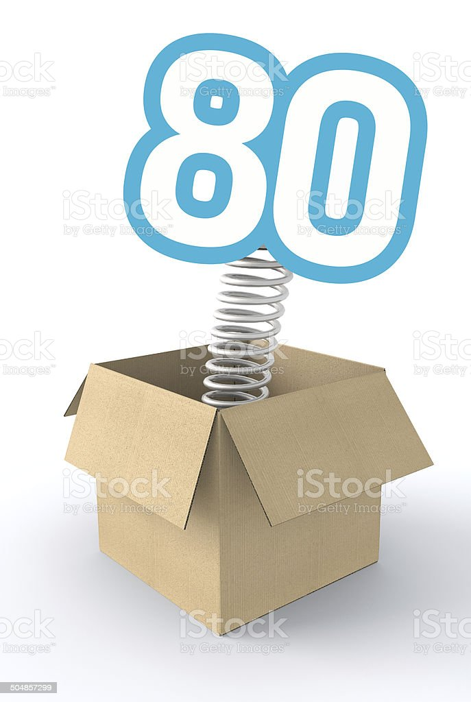 Number jumping from a box stock photo
