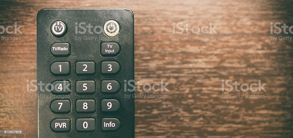 Number keypad on TV remote with copy space stock photo