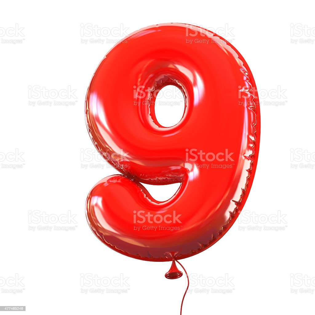 Number nine - 9 balloon font stock photo