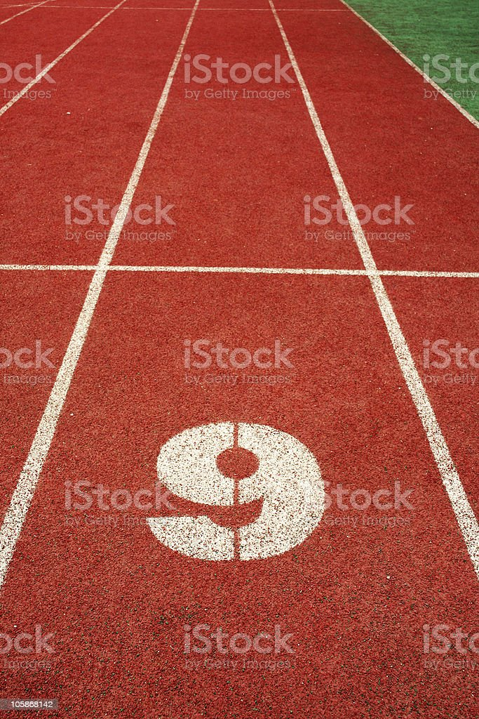 number nine on red run track royalty-free stock photo