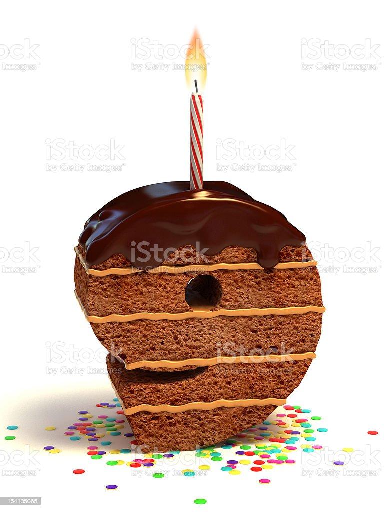 number nine shaped chocolate cake royalty-free stock photo