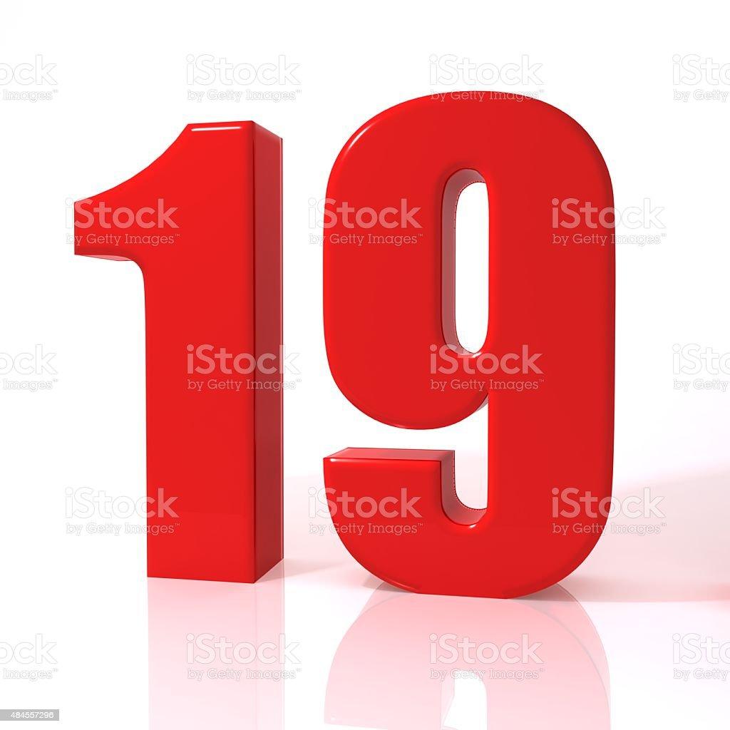 Number nineteen stock photo